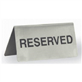 SIGN RESERVED STAINLESS STEEL BLACK ON SILVER 100X43MM AFRAME