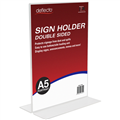 DEFLECTO 47901 SIGN AND DOCUMENT HOLDER A5 PORTRAIT DOUBLE SIDED CLEAR