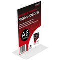 DEFLECTO 69001 SIGN HOLDER DOUBLE SIDED TSHAPE SIGN HOLDER A6 PORTRAIT PLASTIC 106MM X152MM X 60MM CLEAR