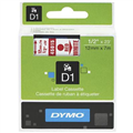 DYMO 45015 D1 LABEL TAPE 12MM X 7M RED ON WHITE